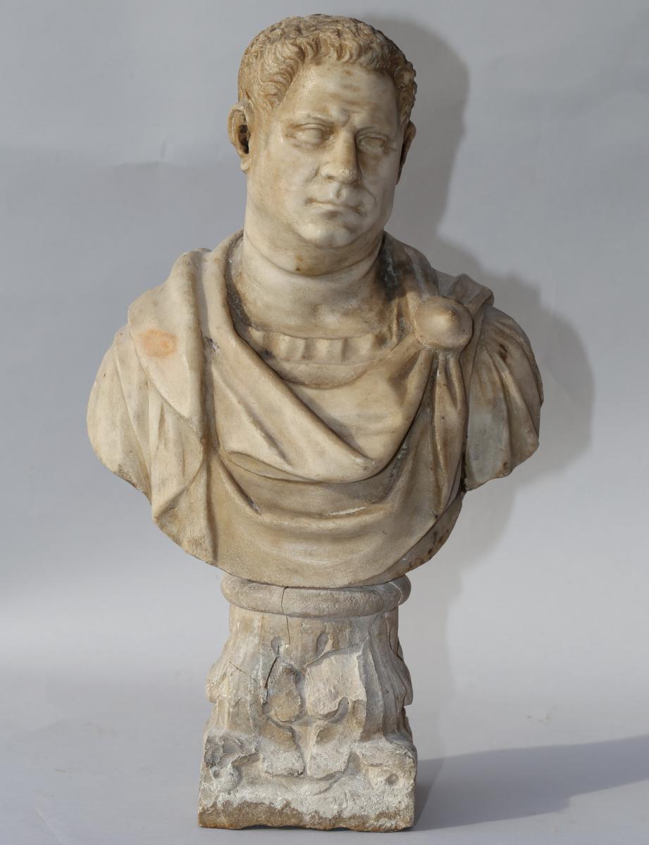 """Ecole Romaine Du XVIII """"buste d'Empereur"""""""