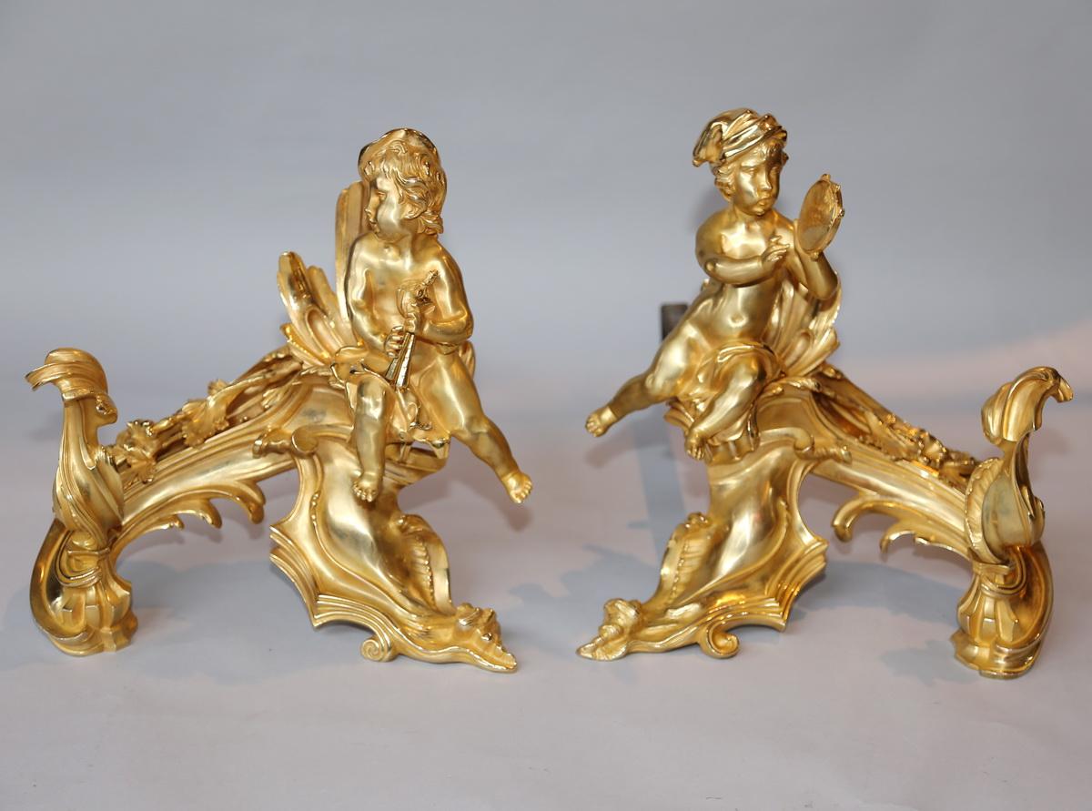 Paire De Chenets En Bronze Doré Style Louis XV