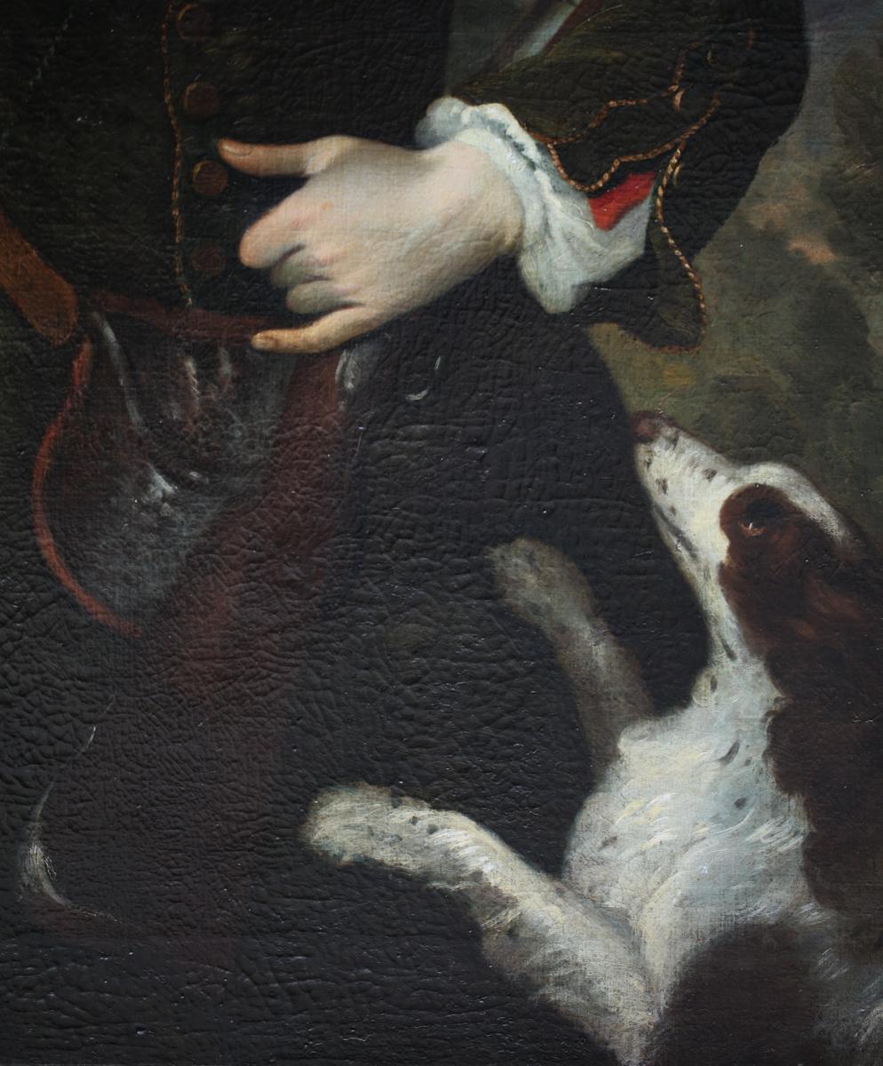 "Ecole Italienne Du XVIII""portrait De Chasseur"""