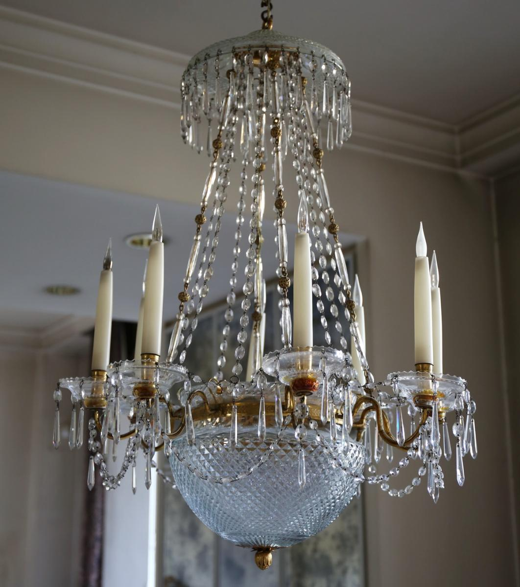 Chandelier Crystal And Bronze Circa 1810