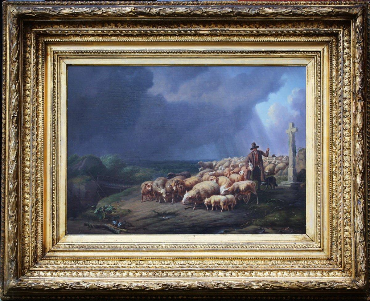 Eugène Verboeckhoven (1799-1881), Berger Et Moutons Sous l'Orage.