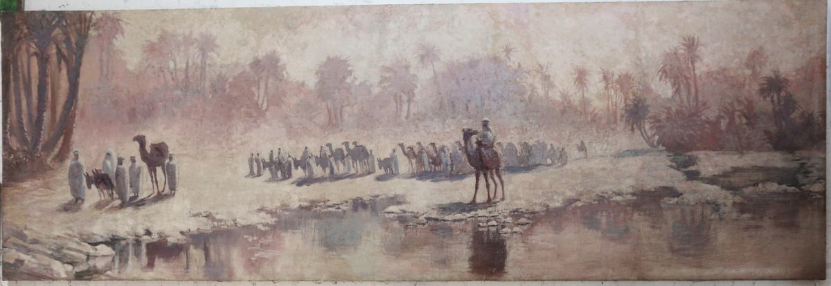 Orientalist School Early XXth, The Caravan, Very Important Panoramic Painting.