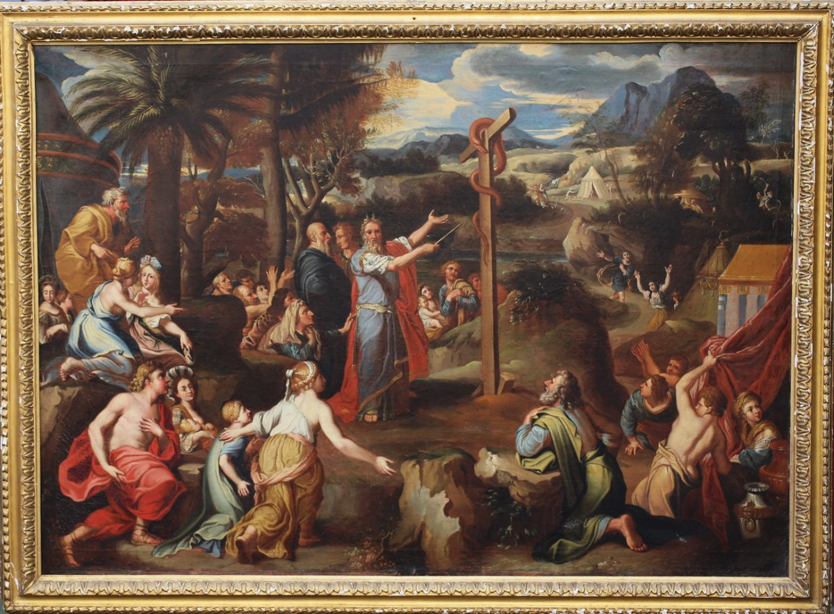 Italian School Early XVIII, Moses And The Bronze Serpent.