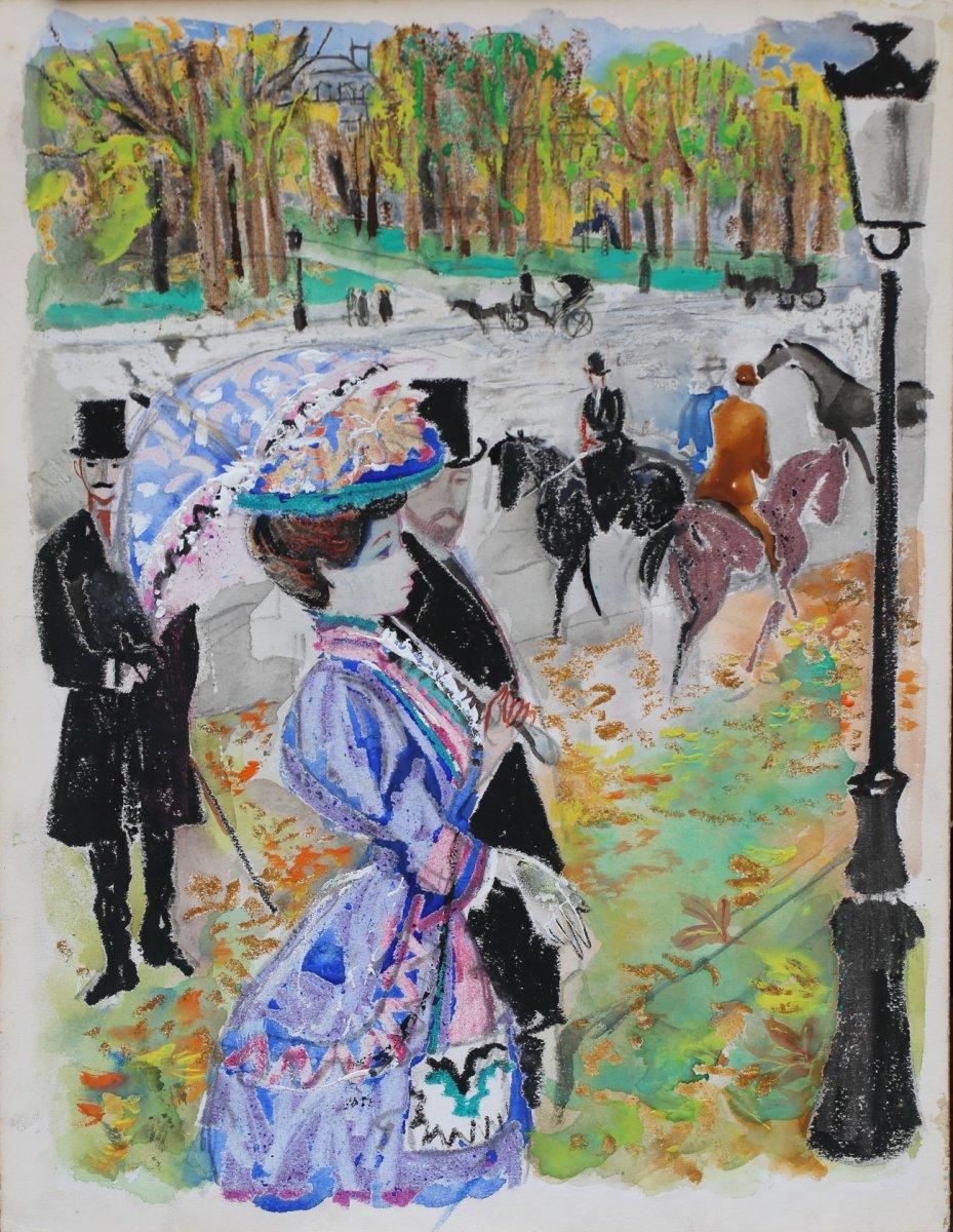 Emile Grau-sala 1911-1975 Gouache, élégante Au Bois De Boulogne.
