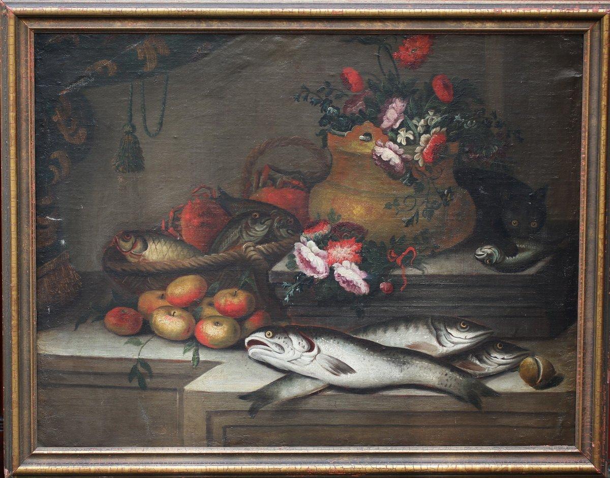 18th Century Italian School, Still Life Fish, Flowers And Cat.