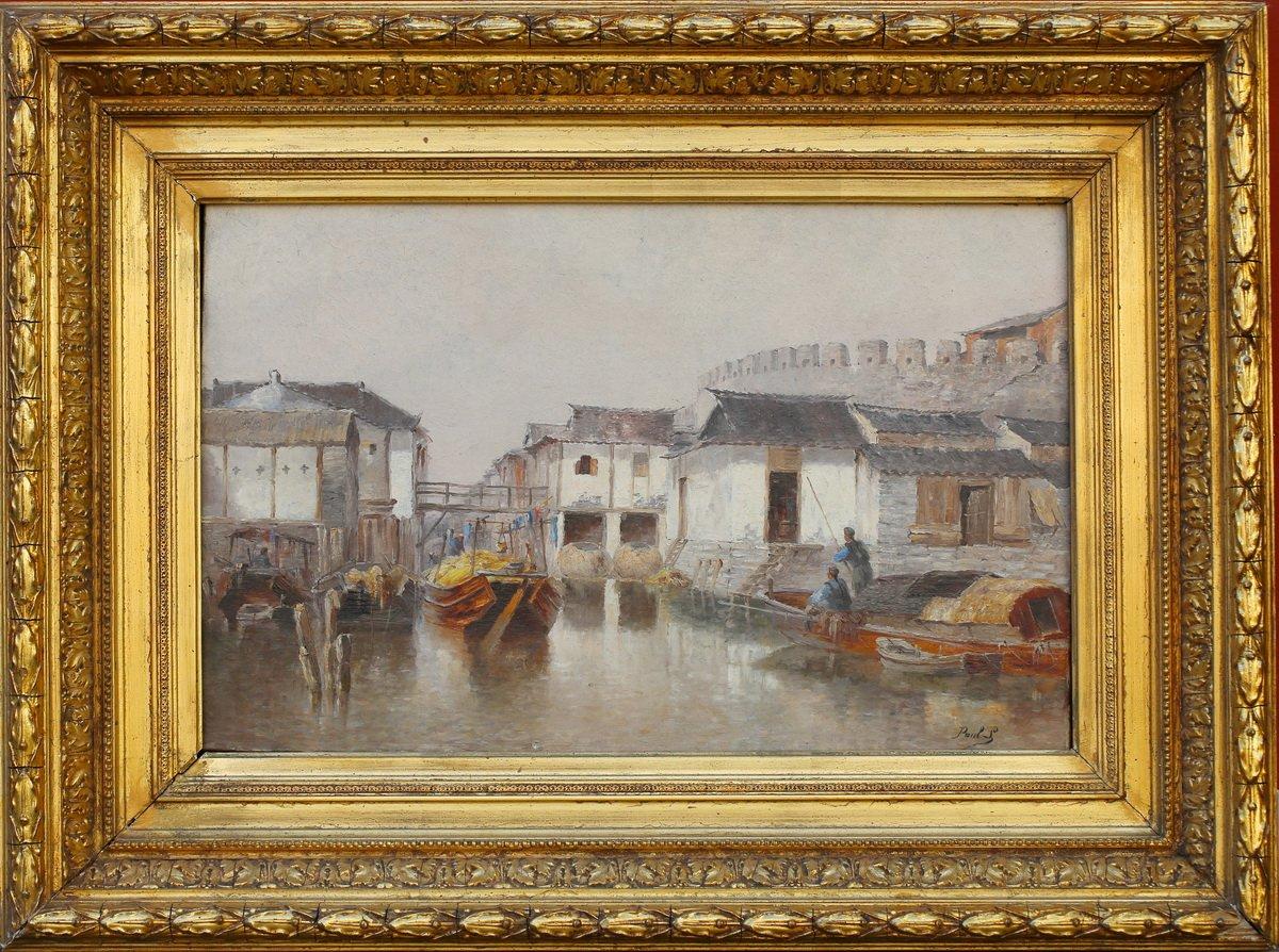 Paul Lecomte 1842-1920 , Village Lacustre En Indochine.