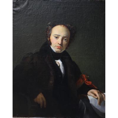 Portrait Of Geologist Engelspach Auguste Dit Larivière 1833