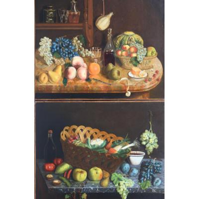 1823-1898 Charles Houry Pair Of Still Life