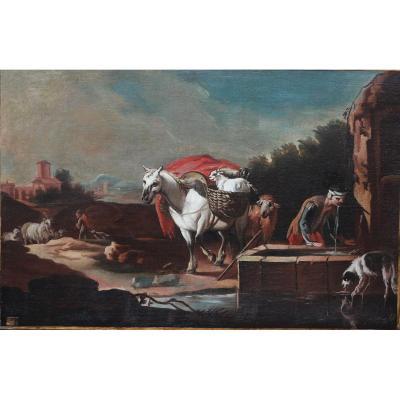 """Peinture """"repos Prés De La Fontaine"""" Vers 1700"""