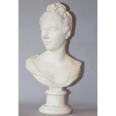 French Ecole Du Nineteenth Marble Bust