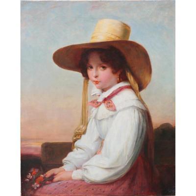 """French Ecole Du XIX """"portrait Of Nency Destouches"""""""