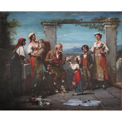 """Peinture """"réunion Familiale à Naples"""" époque XIXème"""