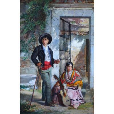 """""""habitants Des Faubourgs De Madrid""""Ec. espagnole XIX"""