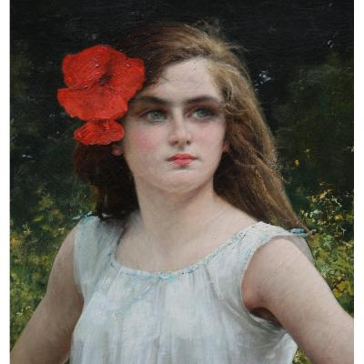 "Eugène Buland 1852-1927 ""jeune Fille Au Coquelicot"""