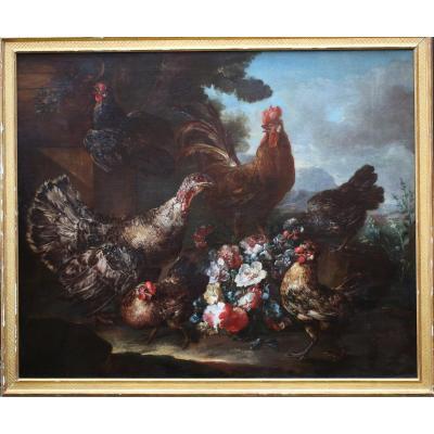 "Giovanni Crivelli 1680-1760 Attribué à  ""basse Cour"""