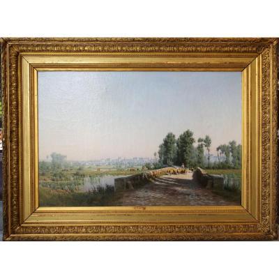 """Jean Louis Verdier 1849-1895 """"paysage, Ville Et Troupeau"""""""