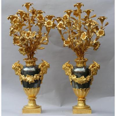 Paire De Candélabres Monumentaux époque XIXème
