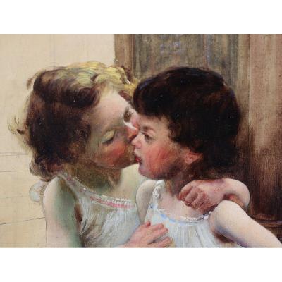 Basil Lemeunier 1852-1922, The Kiss, Oil On Canvas.