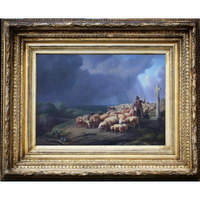 Eugène Verboeckhoven (1799-1881), Shepherd And Sheep Under The Storm.
