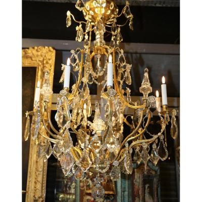 Pair Of Chandeliers Cages Louis XV Style Circa 1940