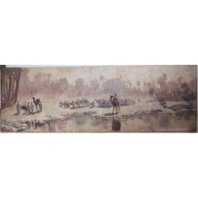 Ecole Orientaliste Début XXème,la Caravane,  Trés Importante Peinture Panoramique.