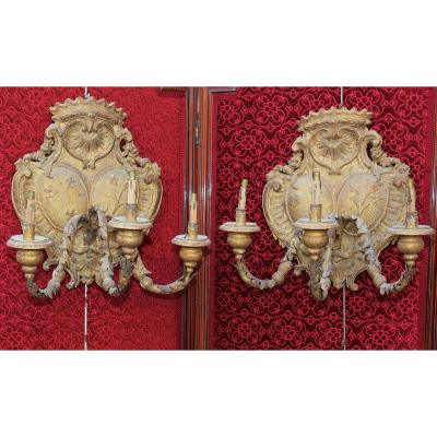 Pair Of Gilded Wood Sconces 18th