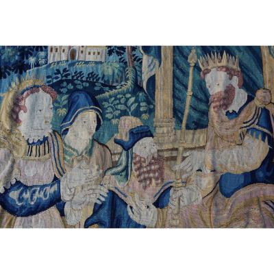 Tapisserie Des Flandres-audenarde XVIème, Le Roi Salomon Et La Reine De Saba.
