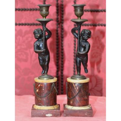 Pair Of Candlesticks, Putti Holding A Torchere, Late 18th Century