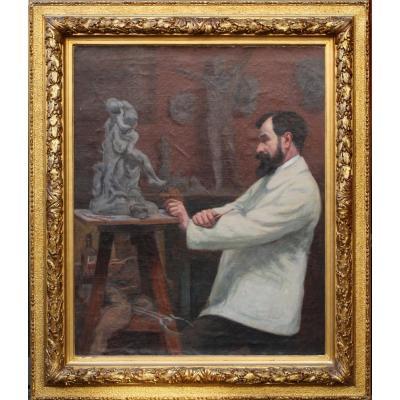 Robert Dessal Quentin (1885-1958) Portrait Of The Sculptor Hamar In His Workshop In 1914