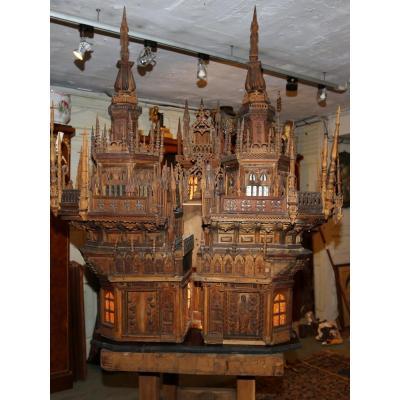 Maquette De Monument Imaginaire, Travail Art Populaire  Circa 1880