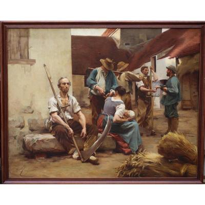Léon Lhermitte 1844-1925 d'Après, La Paye Des Moissonneurs.