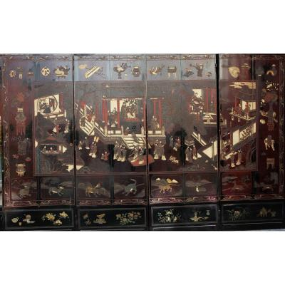 Screen In Lacquer From Coromandel End Of XVIII