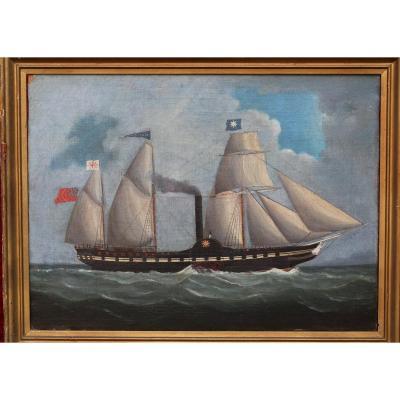 19th Century English School, Portrait Of Steam Sailing Ship
