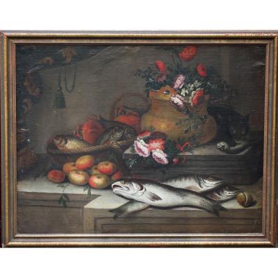 Ecole Italienne Du XVIIIème, Nature Morte Poisson, Fleurs Et Chat.