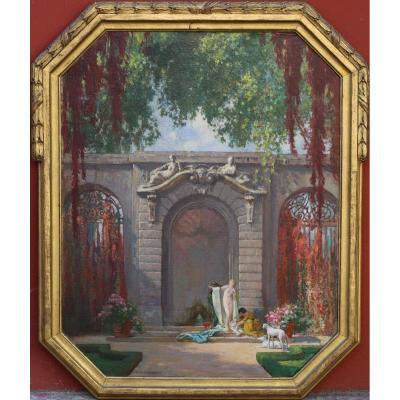 François Maurice Roganeau 1883-1973 , Femme Au Bain Et Levriers Dans Un Jardin.