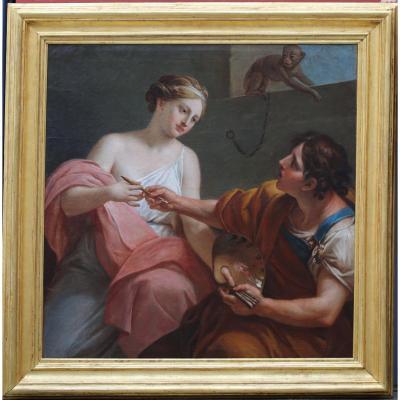 Ecole Italienne Du XVIIIème, Allégorie De La Peinture.