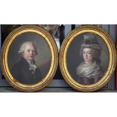 François Louis Lonsing 1739-1799 Attribué à, Portraits De Mr And Mme De Mareilhac.