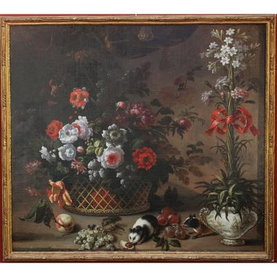 Pierre Nicolas Huilliot 1674-1751 Attributed To, Still Life With Flowers And Guinea Pigs.