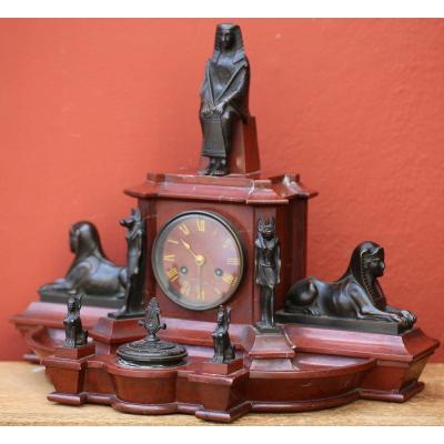 Egyptomania Desk Inkwell Clock Circa 1880