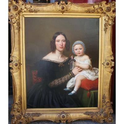 Basile De Loose 1809-1885 Portrait De Jeune Femme Et Sa Fille En 1845