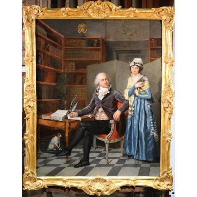 Henri Nicolas Van Gorp 1756-1819 Attribué à, Portrait d'Un Couple Dans Un Cabinet.