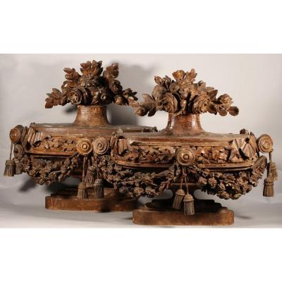 Paire De Vases d'Ornement d'époque Louis XVI