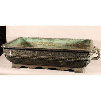 Importante Jardinière En Bronze Chine XIXème
