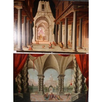 Ecole Espagnole Du XVIIIème, Vues Animées De Palais.