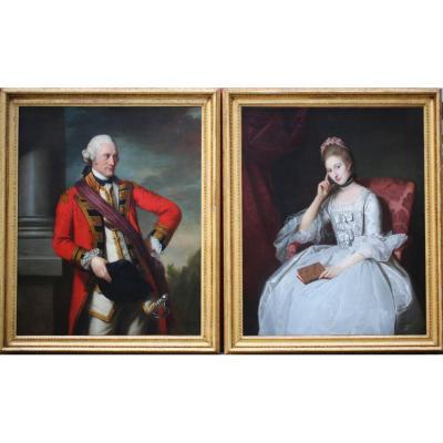 Sir Nathaniel Dance 1735-1811, Paire De Portraits Du Colonel W.b Davis Et De Sa Femme.