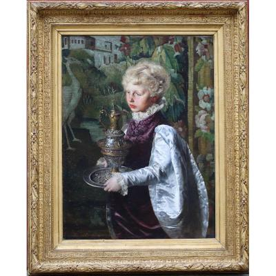 Lothar Von Seebach 1853-1930, Young Page Holding An Ewer Painted In 1879