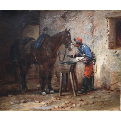 Wilfrid Constant Beauquesne 1847-1913, Militaire Second Empire  Et Son Cheval.