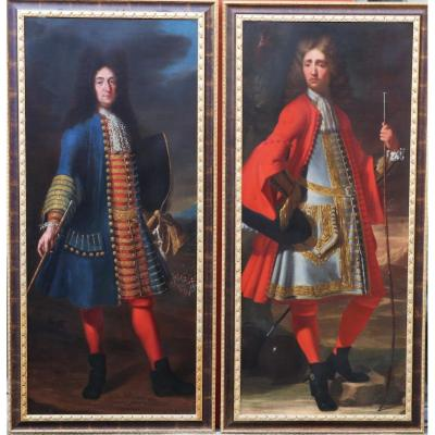 French School Of The XVIII, Pair Of Portraits Of A Gentleman In Foot