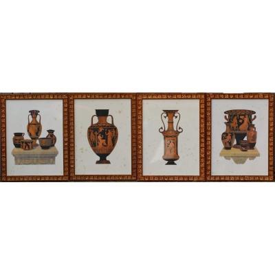 Engravings End Of XIXth Greek Vases.