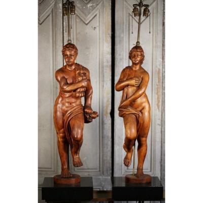 Paire De Grandes Lampes, Bois Sculpté Italie  XVIIIème.